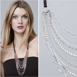 WHBM Multi Chain Leather Necklace